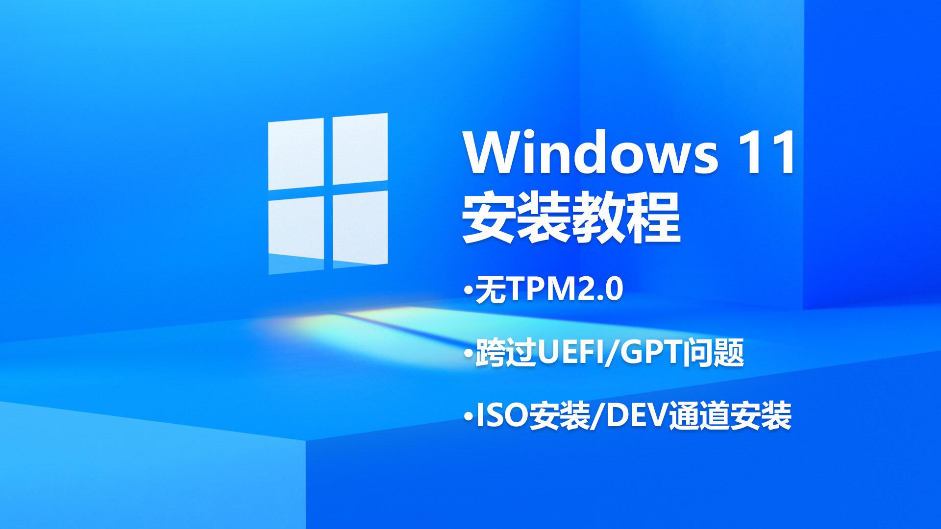 在多个场景下安装Windows 11教程|包括有无TPM2,UEFI、GPT问题,ISO和DEV通道安装方式